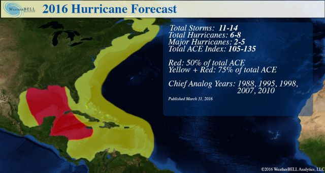 WeatherBell Analytics 2016 hurricane season forecast